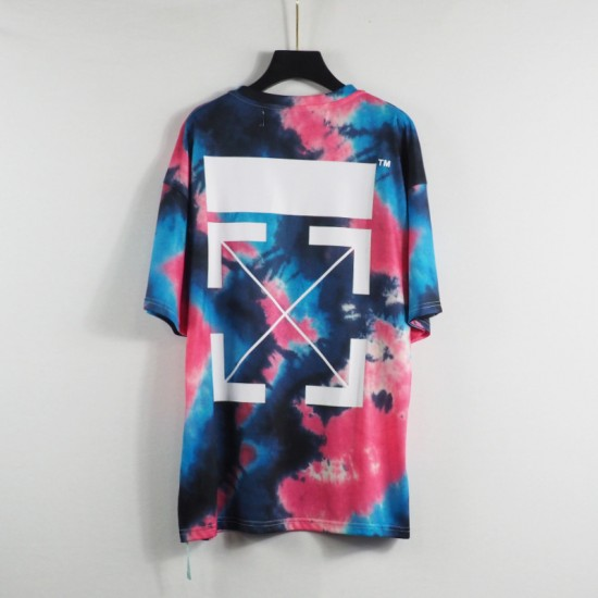 Wholesale OW21 spring and summer new OFF WIALRD colorful rainbow rendering splash ink white arrow short-sleeved T-shirt cotton