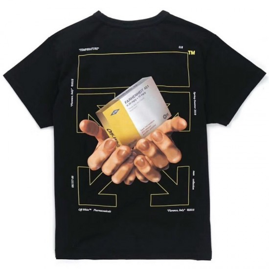 A generation of European and American fashion brand short-sleeved OFF WHITE medicine box T-shirt men and women with the same cotton